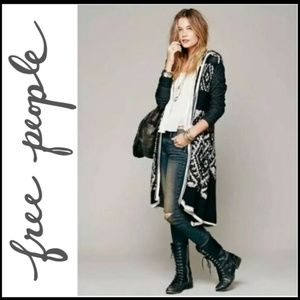 FREE PEOPLE Long Zip Boho Wool/Mohair Duster M